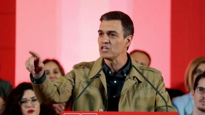 El presidente del gobierno y Secretario General del PSOE, Pedro Sánchez, en un mitin reciente.