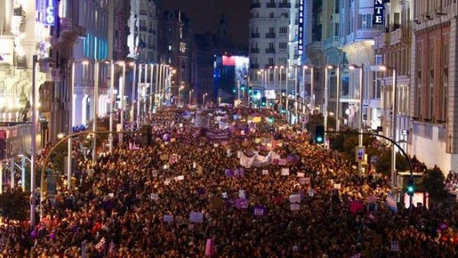 Manifestantes ocupan la Gran Vía de Madrid el pasado 8 de marzo de 2018.