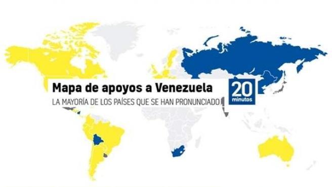 Mapa de apoyos a Guaidó o Maduro.