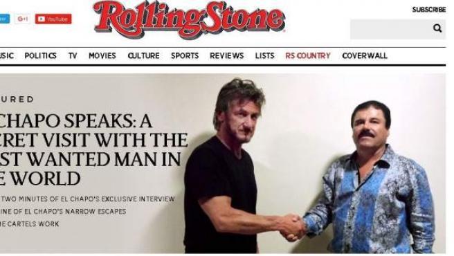 Captura de la edición digital de la revista 'Rolling Stone' que anuncia la entrevista entre Sean Penn y 'El Chapo' Guzmán.
