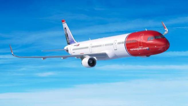 Un Airbus de la compañía de bajo coste Norwegian.