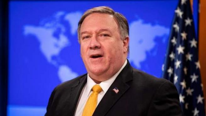 El secretario de Estado de EE UU, Mike Pompeo, durante una rueda de prensa en Washington.