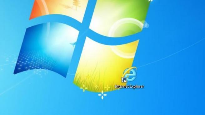 Acceso directo de Internet Explorer en un fondo de escritorio de Windows.