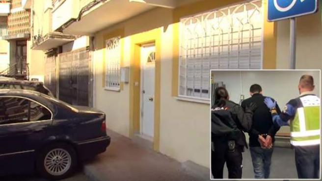 Imagen de la vivienda en la que Manuel M. (a la derecha) convivió durante meses con el cadáver descuartizado de su novia.