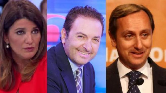 María Claver, Albert Castillón y Carlos Cuesta, periodistas que leerán el manifiesto de la manifestación contra la gestión de Pedro Sánchez.