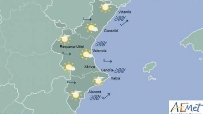 Predicción de Aemet para la Comunitat Valenciana del 10 de febrero