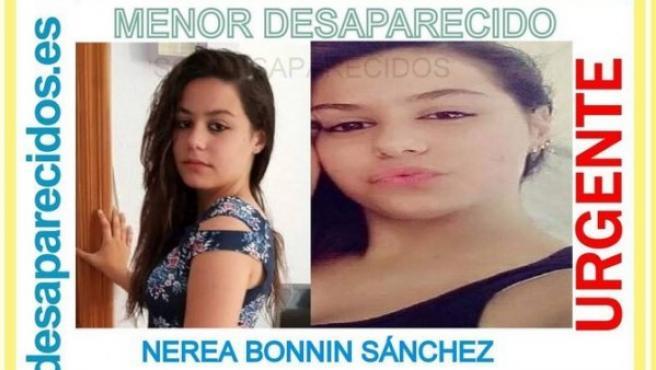 Imagen difundida en redes sociales de Nerea Bonin Sánchez, desaparecida el pasado mes de octubre.