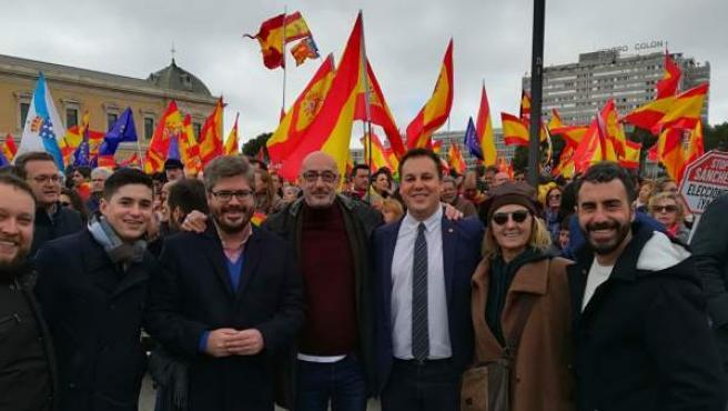 Miembros de Cs Cantabria en la manifestación de Madrid