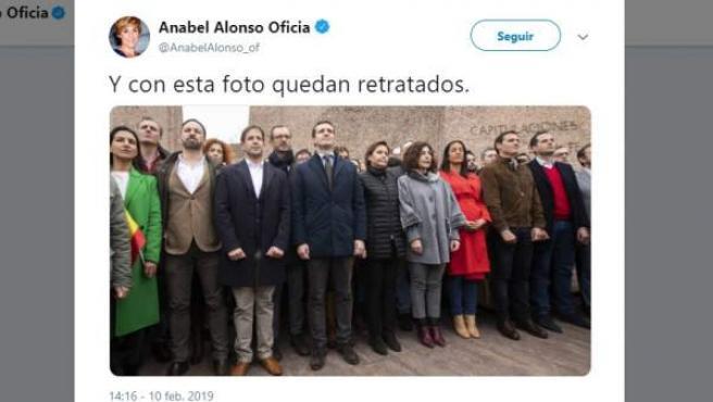 Tuit de Anabel Alonso con motivo de la manifestación en Colón.