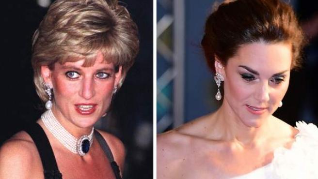 Montaje de fotos de Diana de Gales y Kate Middleton, luciendo los mismos pendientes.