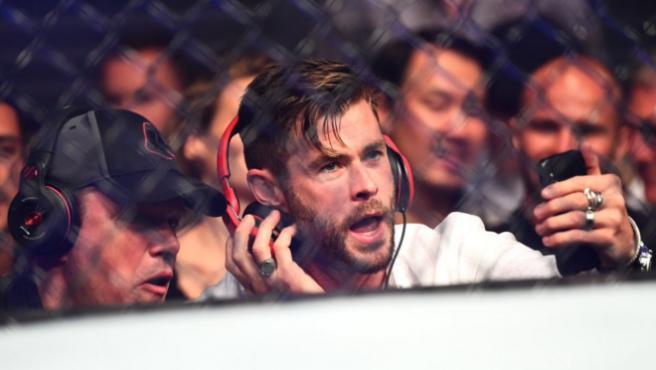 Chris Hemsworth y Matt Damon (y Elsa Pataky) se dejan ver en un combate de la UFC