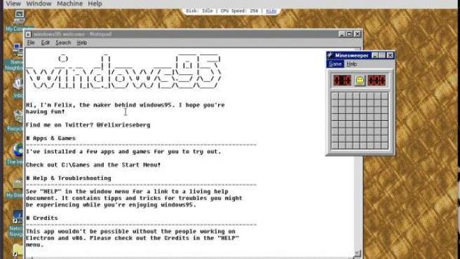 Recreación del sistema operativo Windows 95.