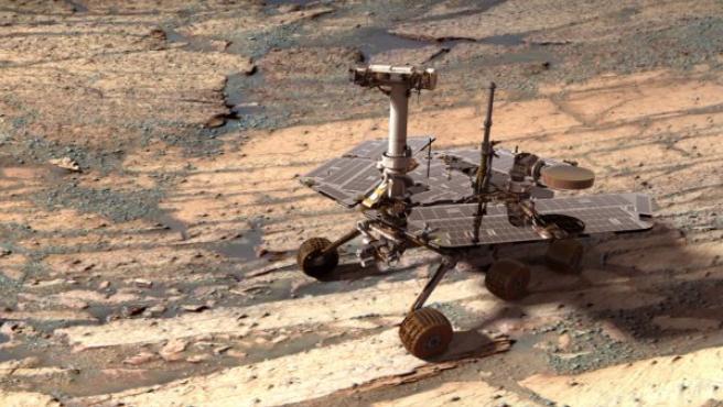 Recreación digital del rover Opportunity en una foto real de la superficie de Marte.