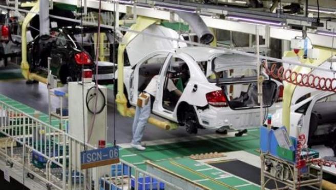 Cadena de montaje en una fábrica de Toyota.