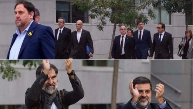 Imagen de Oriol Junqueras, los exconsejeros y los Jordis.