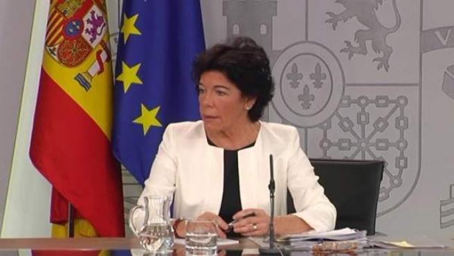 Celáa, en una rueda de prensa tras el Consejo de Ministros.