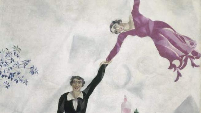 Marc Chagall. El paseo, 1917 [The Promenade]. Óleo sobre lienzo, 175,2 × 168,4 cm Museo Estatal Ruso, San Petersburgo © VEGAP, Madrid, 2019. - Chagall