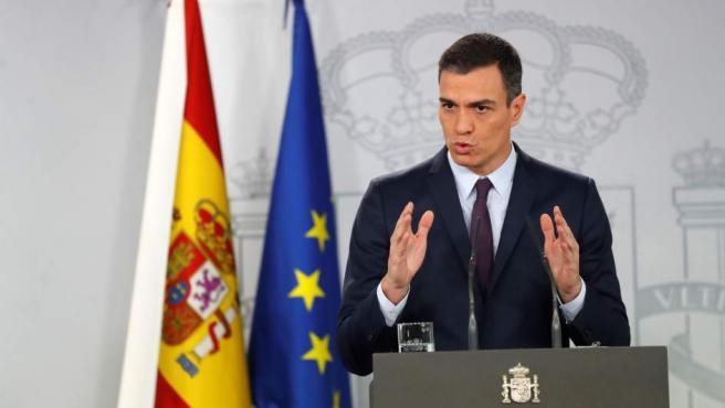 El presidente del Gobierno, Pedro Sánchez, durante su comparecencia en el Palacio de la Moncloa donde ha anunciado que las elecciones generales serán el 28 de abril.