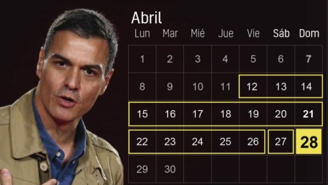 Fechas clave de las elecciones generales del 28 de abril.