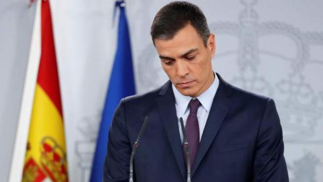 El presidente del Gobierno, Pedro Sánchez, durante su comparecencia, este viernes en el Palacio de la Moncloa.