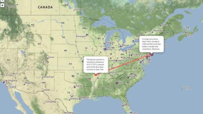 Mapa interactivo de Estados Unidos que muestra cómo será el clima de las ciudades dentro de 2080.