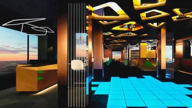 Imagen del 'sky bar' del hotel Riu Plaza España.