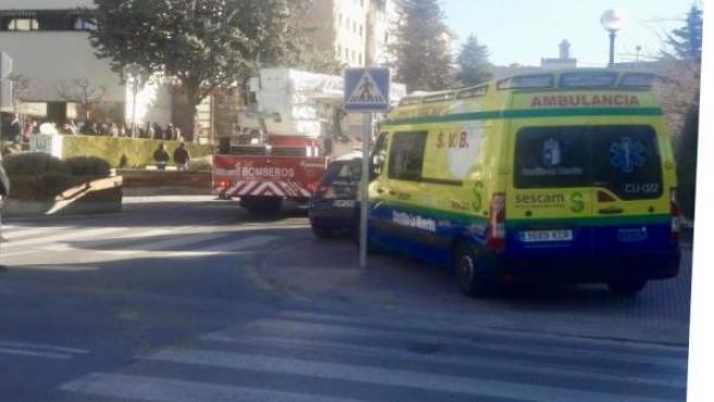 Imagen del hotel Torremangana de Cuenca durante el incendio