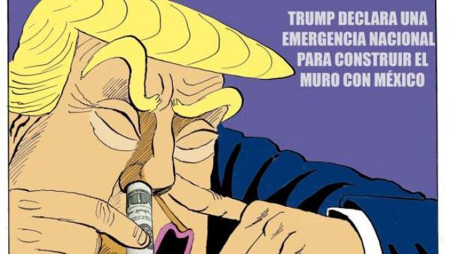 'Trump y el muro', viñeta de Asier.