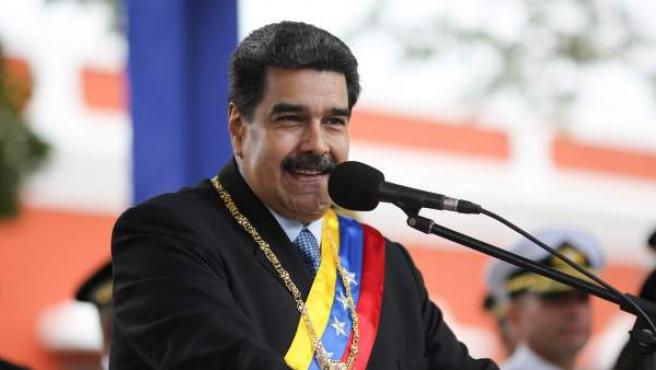 El presidente de Venezuela, Nicolás Maduro, en los actos conmemorativos del Bicentenario del Discurso de Angostura, en Ciudad Bolívar.