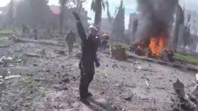 Captura del vídeo publicado por la Defensa Civil Siria.