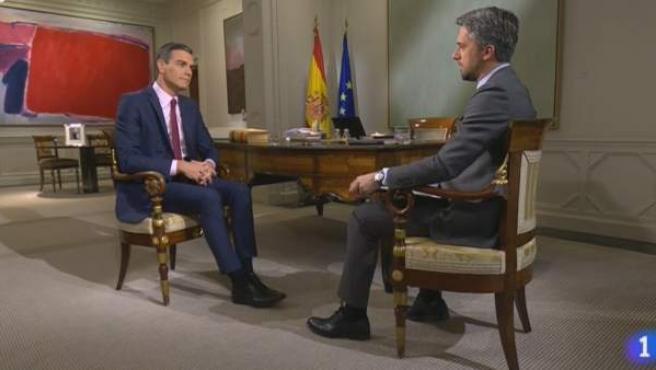 Pedro Sánchez, entrevistado en TVE por Carlos Franganillo.