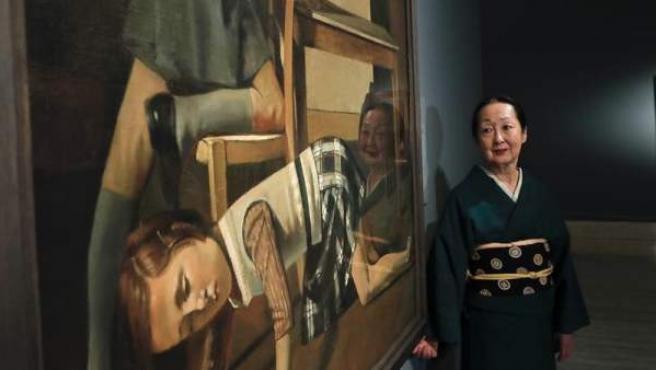 Setsuko Klossowska de Rola, viuda de Balthus, en la presentación de la exposición que el Museo Thyssen dedica al pintor francés.