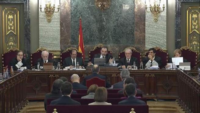El tribunal del juicio al procés, en la cuarta jornada.