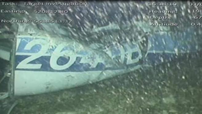 Restos de la avioneta N264DB en la que viajaba Emiliano Sala, en el fondo del Canal de la Mancha.