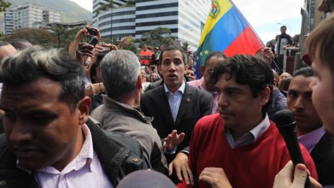 Juan Guaidó el pasado miércoles en el barrio caraqueño de Chacao, al este de la capital venezolana.