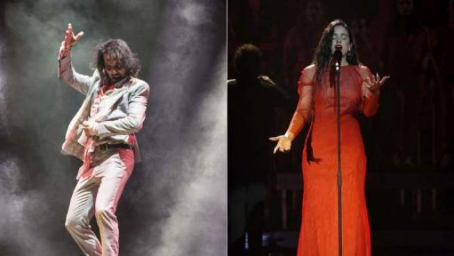 Combo de imágenes del bailaor español Farruquito y de la cantante Rosalía.