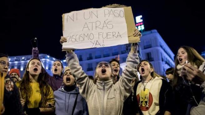 Imagen de una manifestación feminista contra Vox en el centro de Madrid el pasado enero.