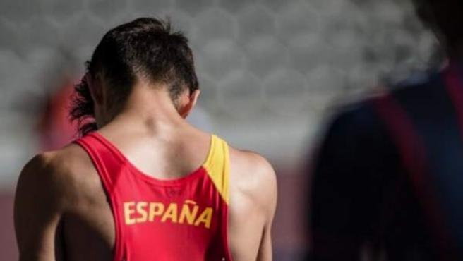 Aleix Porras, instantes antes de competir en el Campeonato de Europa de Berlín 2018.
