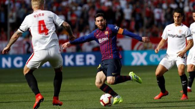 Leo Messi, durante el Sevilla - Barcelona.