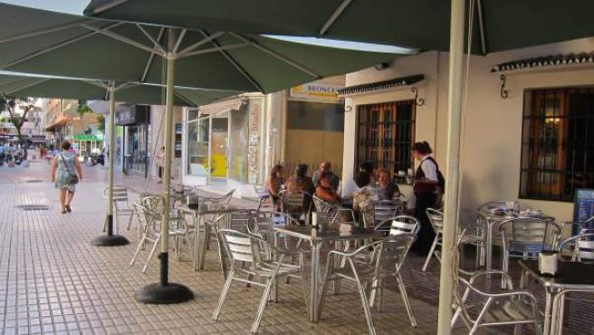 Terraza, Bar, gente, desayuno, establecimientos, bares