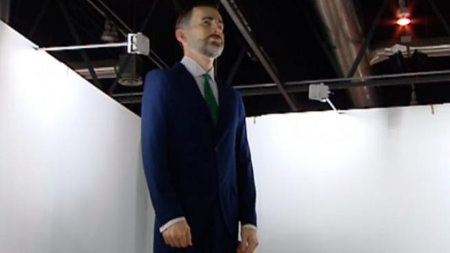 El 'ninot' de cuatro metros de alto del rey Felipe VI que se expone en ARCO 2019.
