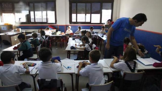 Inicio del curso escolar 2015-16 en el colegio Josep Tarradellas (Madrid).