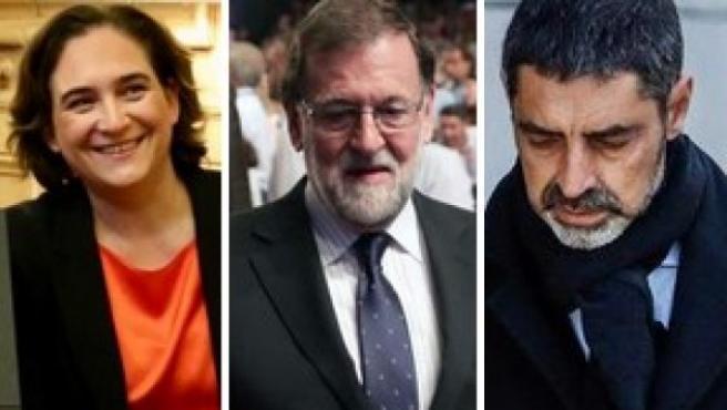 Colau, Rajoy y Trapero