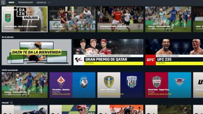 Pantalla de inicio de DAZN, la nueva plataforma de streaming de deportes.