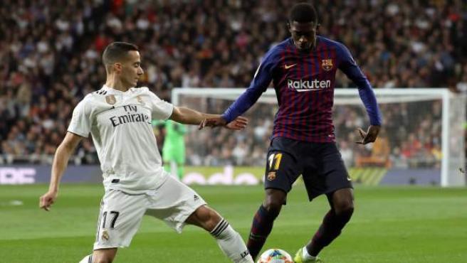Lucas Vázquez y Dembélé en el Real Madrid - Barça de Copa del Rey.