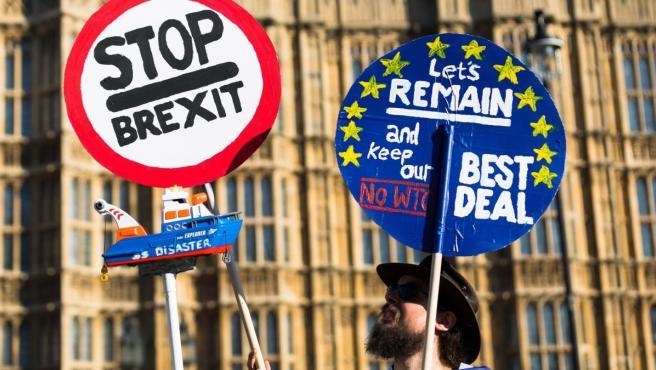 Un hombre se manifiesta contra el 'brexit' durante una protesta en el exterior del Parlamento británico en Londres (Reino Unido).