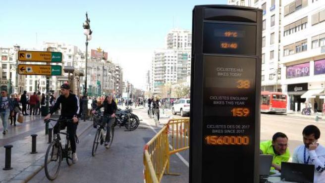 Operarios realizan pruebas, este viernes, en el contador de bicicletas instalado en el anillo ciclista de València, a la altura de la plaza de toros.