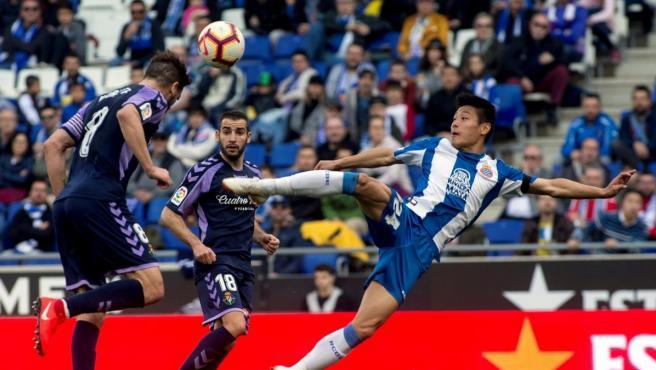 Wu Lei, en el RCD Espanyol - Real Valladolid de la pasada temporada.