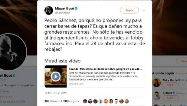 Tuit de Miguel Bosé criticando al Gobierno y defendiendo a las pseudociencias.