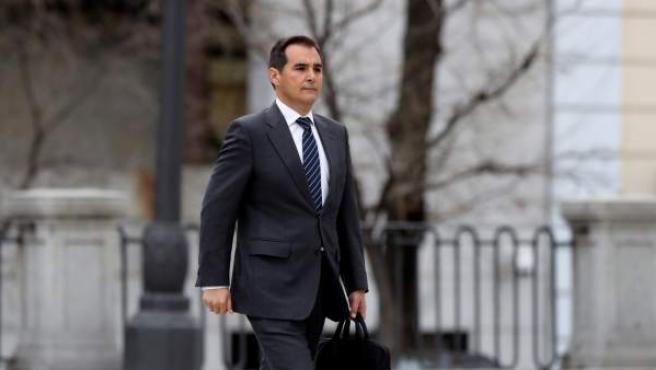 """El ex secretario de Estado de Seguridad José Antonio Nieto, a su llegada al Tribunal Supremo para declarar como testigo en el juicio del """"procés""""."""